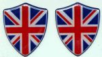 3D GEL sticker SET of 2 'UNION FLAG SHIELD ' Size approx 28x35 mm. Blue/Red